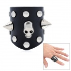 Cool Studs Skull with Dual Spikes Punk Style Genuine Leather Ring