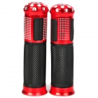 Comfortable Anti-Slip Latex Motorcycle Handle Grips - Red + Black + Silver (2 PCS)