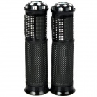 Comfortable Anti-Slip Latex Motorcycle Handle Grips - Black + Silver (2 PCS)