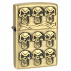 Nine Skull Heads Pattern Kerosene Oil Lighter - Bronze