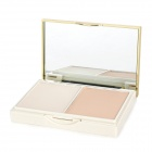 UV Protection Cosmetic 3-Color 2-Layer Wet Dry Powder w/ Puff / Mirror - Ivory White + White