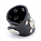 Cool Studs Three Skulls Punk Style Genuine Leather Ring