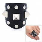Cool Studs Three Spikes Punk Style Genuine Leather Ring