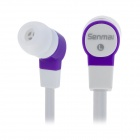 SM-E1007 Noodle Shape In-Ear Earphone w/ 2 Pairs Earbuds -Purple (3.5mm-Plug / 120cm-Cable)