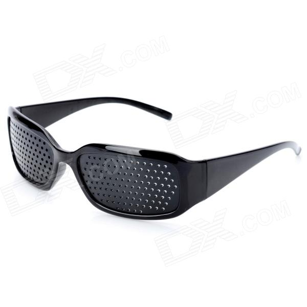 Eyesight Vision Improve Plastic Frame Pinhole Glasses Eyeglasses - Black