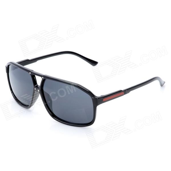 Fashion Oreka 9940 UV Protection Plastic Sunglasses w/ Case - Black + Grey