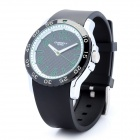 Stylish Rubber Band Sports Analog Quartz Wrist Watch - Black (1 x LR626 / LR66)