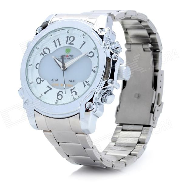 30m Waterproof Stainless Steel Band Analog + Digital LED Quartz Wrist Watch - Silver (1 x 2035) stainless steel band analog quartz bracelet watch for women silver 1 x 377