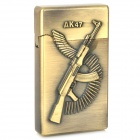 AK47 Pattern Dual Lamp Windproof Steel Butane Gas Lighter - Bronze