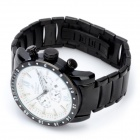 Speatak TAK9004B Fashion Male's Stainless Steel Band Quartz Wrist Watch - Black + White (1 x CR626)
