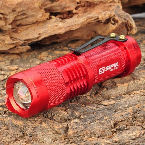 SIPIK SK-68 260lm 1-Mode White Light Zooming Flashlight - Red (1 x AA)