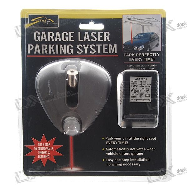 Laser guided garage parking system 110v ac 9v backup for Garage llacer miribel