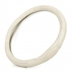Universal M Size Genuine Leather Steering Wheel Sleeve - Beige (Diameter-38cm)