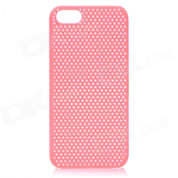 Protective ABS Hole Net Back Cover Case for Iphone 5 - Pink cool skull head style protective soft silicone back case for iphone 4 4s pink