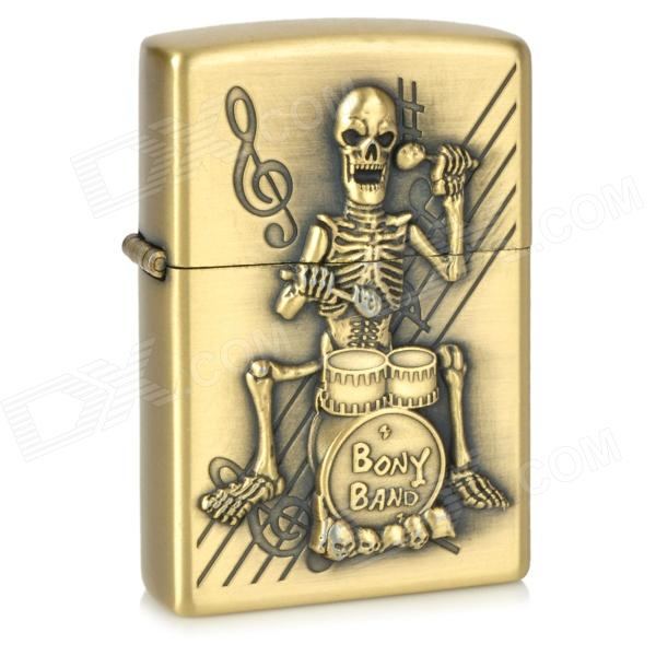 Skull Drumming Pattern Kerosene Oil Lighter - Bronze
