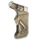 Spray Gun Pattern Windproof Butane Gas Lighter - Bronze