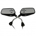 Motorcycle MP3 Player Rear-View Mirror Speaker w/ FM / SD / Alarm Remote Controller - Black (Pair)