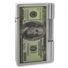 One Hundred Dollars Pattern Butane Gas Lighter - Silver