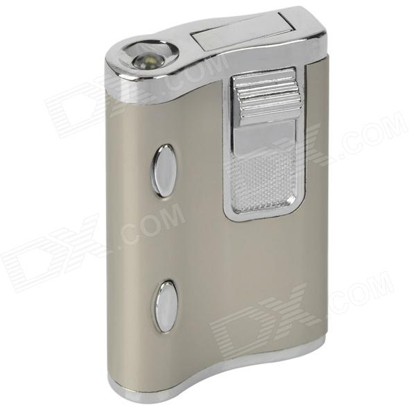 Dual Lamp Windproof Aluminum Alloy Butane Gas Lighter - Silver chili pepper style zinc alloy butane gas lighter green