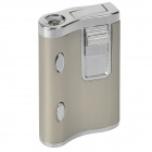 Dual Lamp Windproof Aluminum Alloy Butane Gas Lighter - Silver