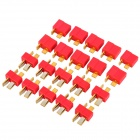 100A T-Shape Gold Plated Wire Connect Female + Male Plugs Set - Red (2 x 10 PCS)
