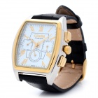 Retro Roman Digital Square Analog Automatic Mechanical Men's Wrist Watch - Black + Golden