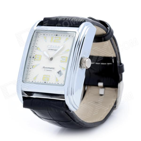Male's Genuine Leather Band Square Dial Analog Quartz Wrist Watch - Black (1 x CR626) genuine leather brand luxury women man watch lovers quartz watch black white wristwatches montre femme 2015 de marque