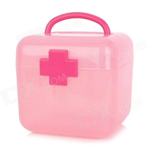 Portable Two-Layer PP Medicine Cosmetic Organizer Box - Pink + Deep Pink