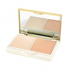 SPF20 Cosmetic 3-Color 2-Layer Wet Dry Powder w/ Puff / Mirror - Beige + White (15g)