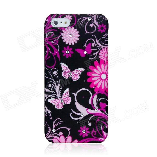 Butterfly Pattern Protective ABS Plastic Case for Iphone 5 - Pink + Black butterfly bling diamond case