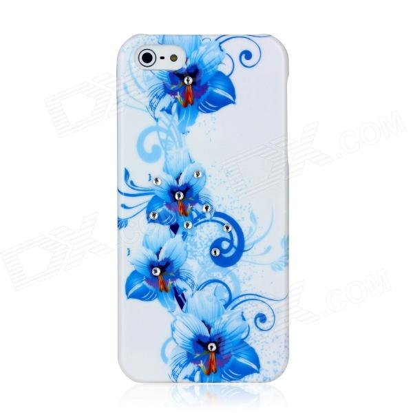 Flower Pattern Protective ABS Plastic Case for Iphone 5 - Blue + White