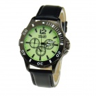 WLQR HP9591 Men Military Style Night Vision Wristwatch w/ Genuine Leather Band - Black (1 x SR626SW)