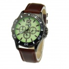 WLQR HP9591 Military Genuine Leather Band Quartz Analog Green Light Waterproof Wrist Watch - Brown