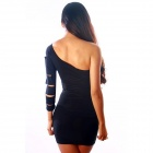 Elegant elastische Cut Out One-Shoulder Meryl Kleid - Schwarz