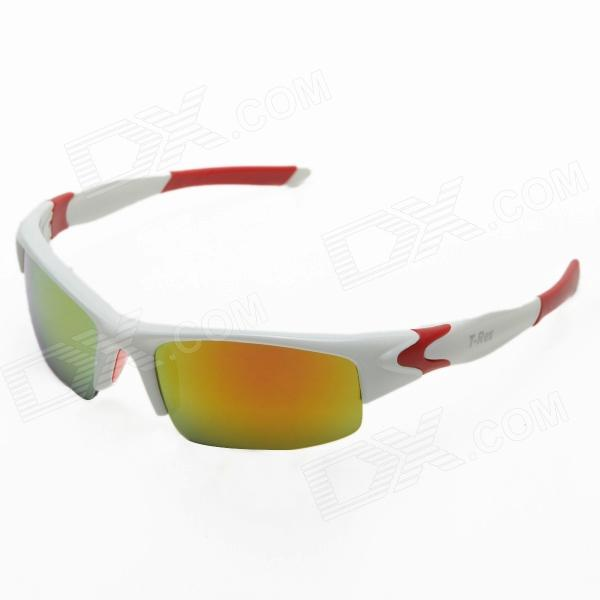 CARSHIRO 2357 Outdoor Riding PC Frame Resin Lens Eye Protection Google Sunglasses - White + Red