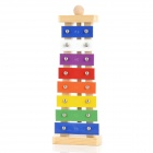 Wood Frame Glockenspiel Xylophone 8 Notes Aluminum Plate Musical Instrument Toys - Multicolored