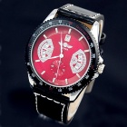 Back Transparent Full Automatic Mechanical Wristwatch w/ Calendar for Men - Red Dial