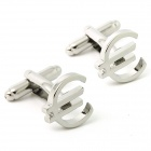Fashion Euro Symbol Modeling White Steel Cufflinks for Men -Silver (Pair)