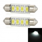 festoon 39mm 2W 4-LED vit bil läsning / registreringsskylt lampa (2st)