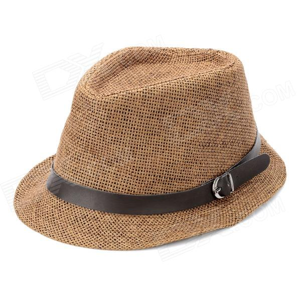 Fashion Straw-Woven Jazz Hat - Brown stetson men s breakers premium shantung straw hat