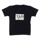 Sound and Music Activated MJ Dancing EL Visualizer T-shirt - Black (Size-XL / 2 x AAA)
