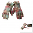 Universal Capacitive Touch Screen Winter Warm Gloves for Women - Grass Green + Red (Pair)