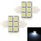 Festoon 31mm 2W 130lm 6-SMD 5050 LED White Light Decode Car Reading / Tail Lamp (2 PCS / 12V)