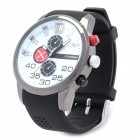 Fashion Rubber Band Quartz Wrist Watch - Black + White (1 x LR626)