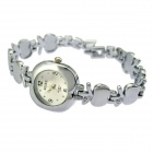 Fashion Apple Shaped Aluminum Alloy Band Analog Quartz Wrist Watch for Women - Silver (1 x 626)
