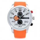 Fashion Rubber Band Quartz Wrist Watch - Orange + White (1 x LR626)