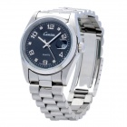 CO127 Fashion Stainless Steel Band Quartz Wrist Watch for Men - Silver + Black (1 x 763 Battery)