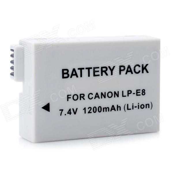 DIGITA LP-E8 Replacement 7.4V 1200mAh Battery Pack for Canon EOS 650D + More - Grey White bp 208 compatible 850mah battery pack for canon mvx1sidc10 dc20 more