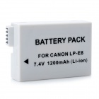 "DIGITA Canon LP-E8 Replacement 7.4V ""1200mAh"" Battery Pack for Canon EOS 650D + More - Grey White"