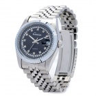 CO126-3 Fashion Stainless Steel Band Quartz Wrist Watch for Men - Silver + Black (1 x 763 Battery)